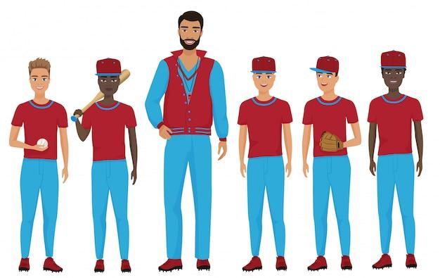 Niños de la escuela niños equipo de béisbol con un entrenador mirando juntos. ilustración