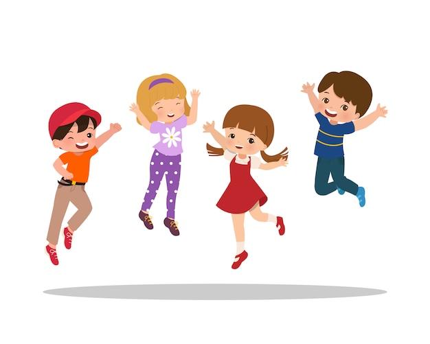 Niños de la escuela niños y niñas saltando con cara feliz. niños sintiéndose emocionados. dibujos animados de estilo plano aislado en blanco
