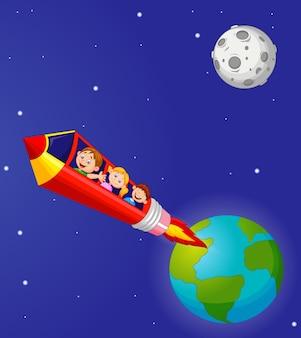 Niños de la escuela que disfrutan de pencil rocket ride