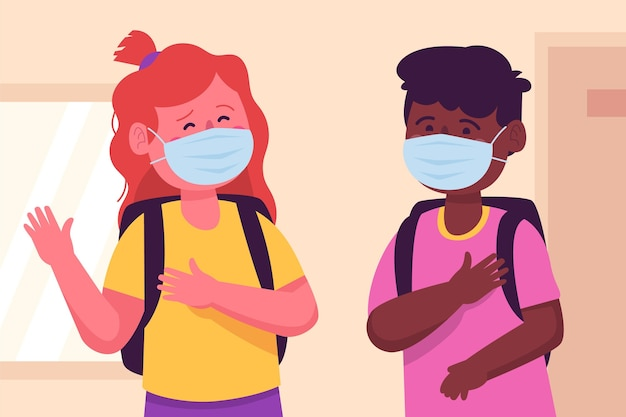 Niños de la escuela saludando en la nueva normalidad