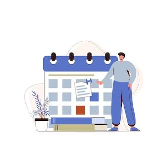 Los niños establecen el horario en el calendario, los niños miran el vector de ilustración de diseño conceptual del calendario del calendario
