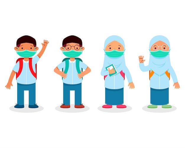 Niños de estudiante de escuela islámica durante el juego de caracteres pandémicos