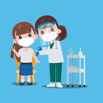 Niños el estudiante recibe vacunas con el médico para protegerse de los virus