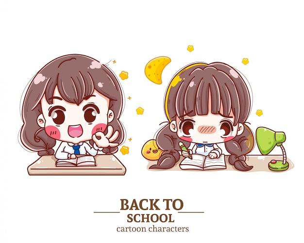 Niños estudiante uniforme c oon, tarea, libro, logotipo de ilustración de regreso a la escuela.