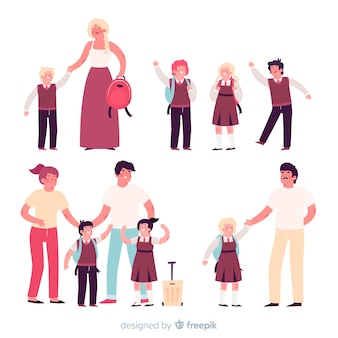 Niños estudiantes con padres en diseño plano