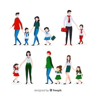 Niños estudiantes con sus padres en diseño plano