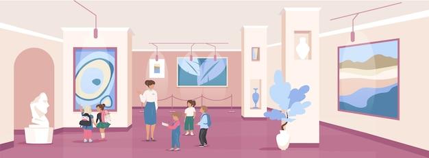 Niños en excursión color plano. exposición de la galería de arte. centro comunitario público. niños de la escuela con guía personajes de dibujos animados en 2d con interior del museo en el fondo