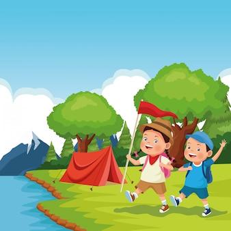 Niños en la excursión escolar.