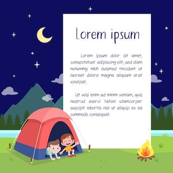 Niños exploradores en la ilustración del campamento