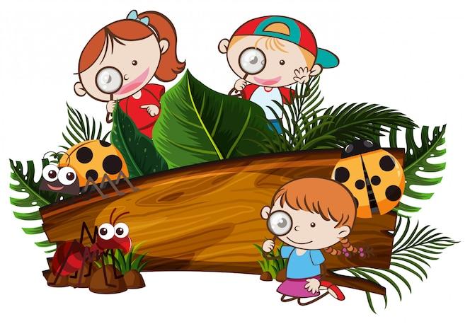Niños explorando la naturaleza banner