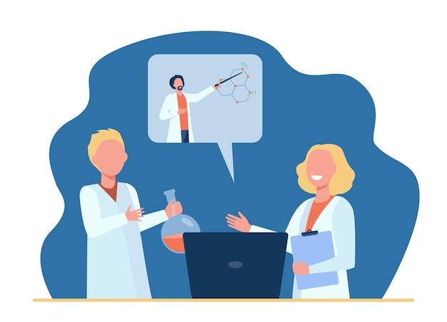 Niños felices aprendiendo química en línea. ilustración de dibujos animados