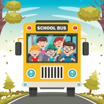 Niños felices y autobús escolar