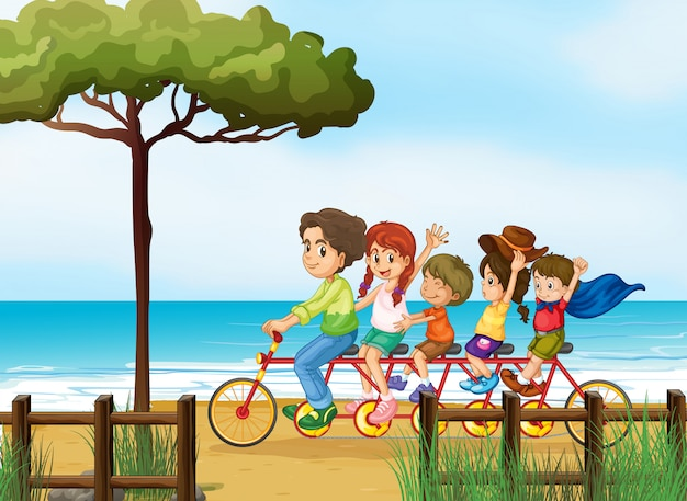 Niños felices y bicicleta