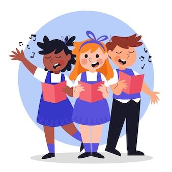 Niños felices cantando en un coro