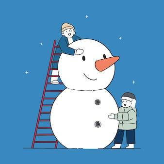 Niños felices construyendo muñeco de nieve en el parque, concepto de invierno, ilustración de estilo de arte de línea dibujada a mano.