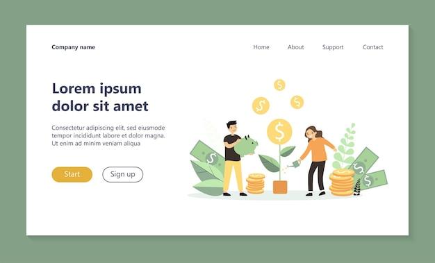 Niños felices creciendo página de inicio del árbol del dinero