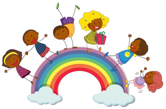Niños felices de pie en el arco iris
