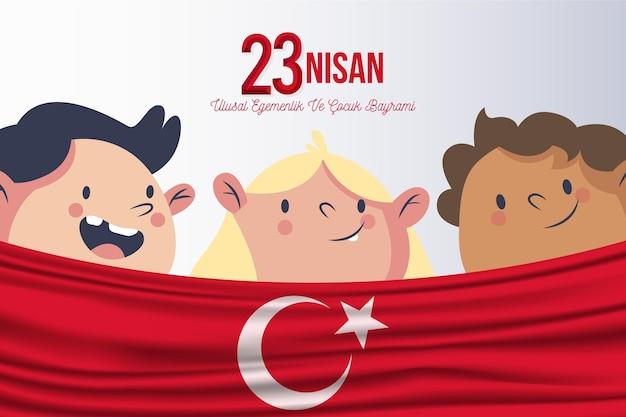Niños felices y día de la soberanía nacional.