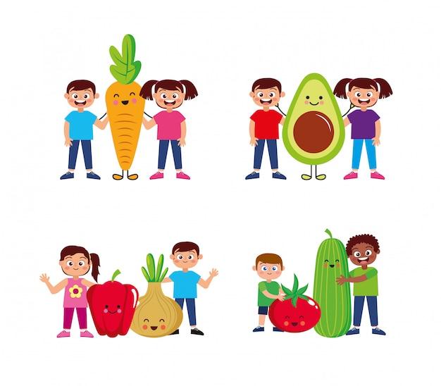 Niños felices con dibujos animados de verduras