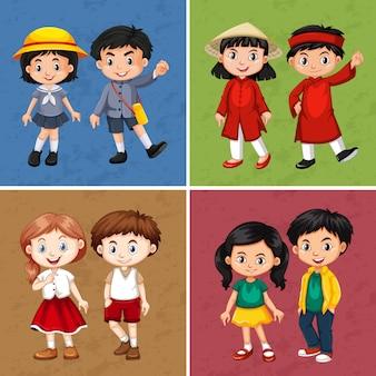 Niños felices de diferentes países.