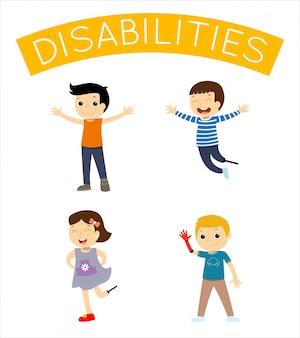 Niños felices discapacitados