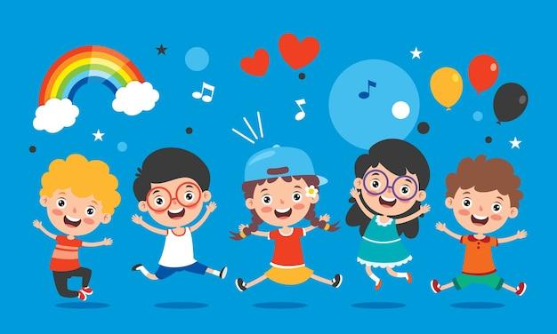 Niños felices divirtiéndose