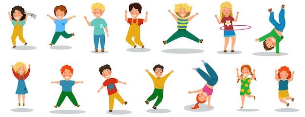 Niños felices es un día. un conjunto de niños pequeños divertidos que saltan y se regocijan. ilustración de vector de estilo de dibujos animados plana.