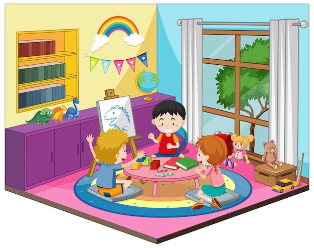 Niños felices en la escena de la sala de jardín de infantes en tema colorido