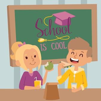 Niños felices de la escuela en clase, ilustración. niño y niña almorzando juntos en el aula. niños sonrientes en la escuela, personajes de dibujos animados