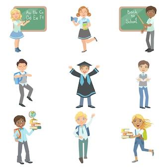 Niños felices de estar en la escuela