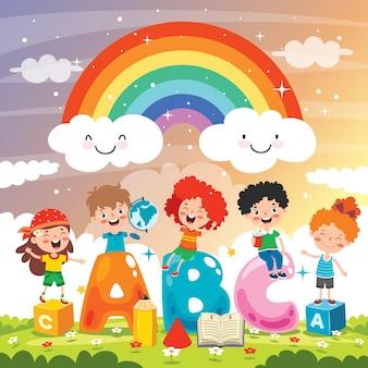 Niños felices estudiando y aprendiendo