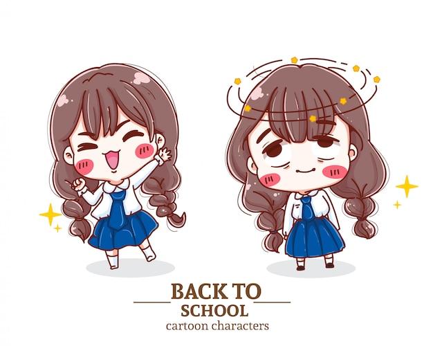 Niños felices estudiante uniforme regreso a la escuela ilustración logotipo.