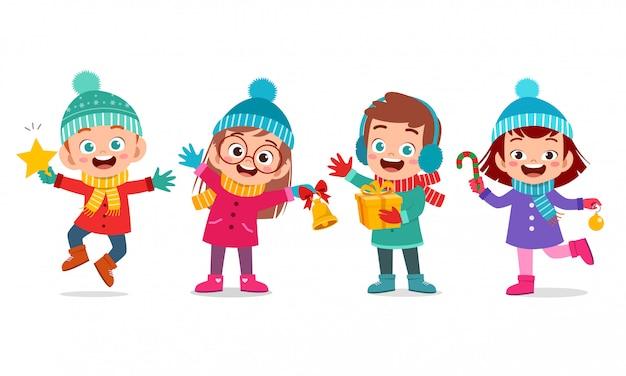 Niños felices expresión sonrisa conjunto de navidad