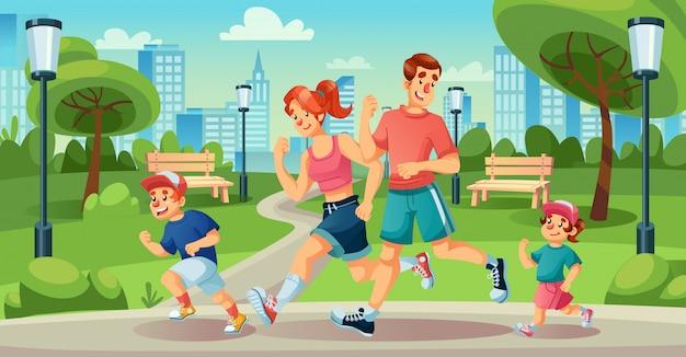 Niños felices de la familia para correr en el parque de la ciudad de verano