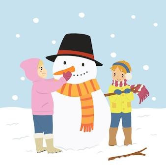 Niños felices haciendo un muñeco de nieve, personaje