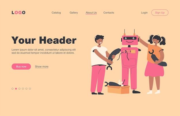Niños felices haciendo robot para la página de inicio plana del proyecto escolar. estudiantes de dibujos animados aprendiendo robótica con el maestro. concepto de educación y tecnología de ingeniería