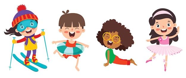Niños felices haciendo varios deportes