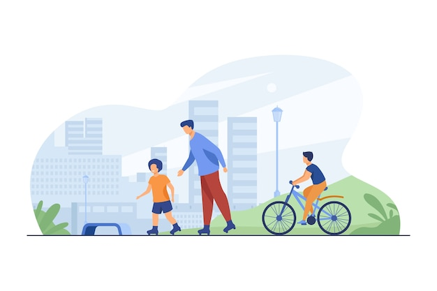 Niños felices y hombre rodando y montando en bicicleta. patines, bicicleta, ciudad ilustración vectorial plana. estilo de vida urbano y fin de semana