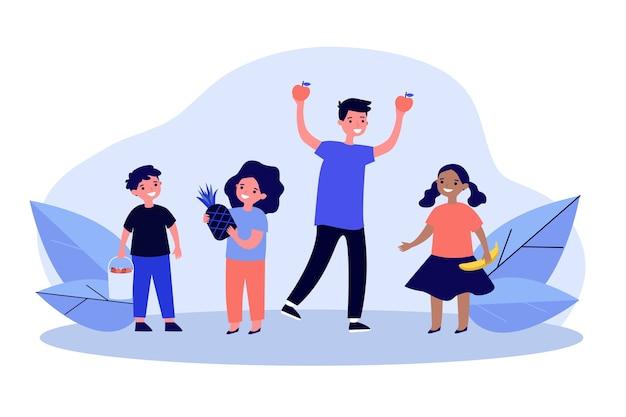 Niños felices con ilustración de frutas