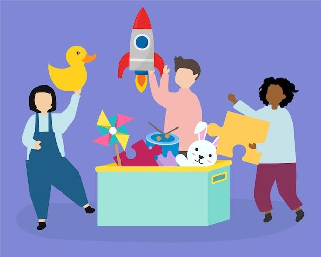 Niños felices con la ilustración de juguetes