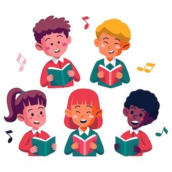 Niños felices ilustrados cantando en un coro.