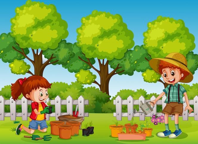 Niños felices jardinería en el parque