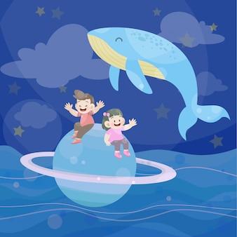 Niños felices juegan juntos en el océano