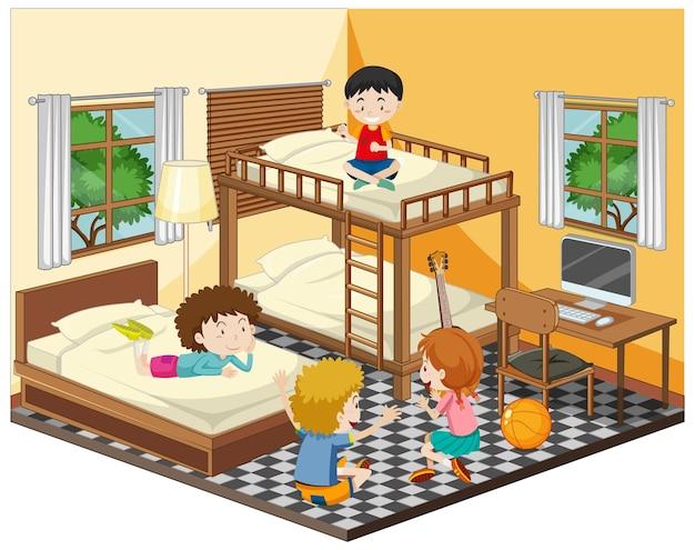 Niños felices jugando en la escena del dormitorio.