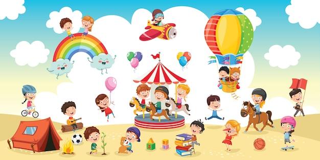 Niños felices jugando ilustración paisaje
