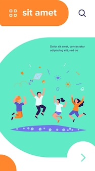 Niños felices jugando en la ilustración de vector plano de parque de verano. dibujos animados de niños y niñas lindos saltando con cometa en prado