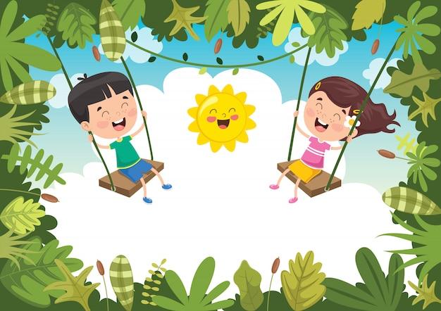 Niños felices jugando en la jungla