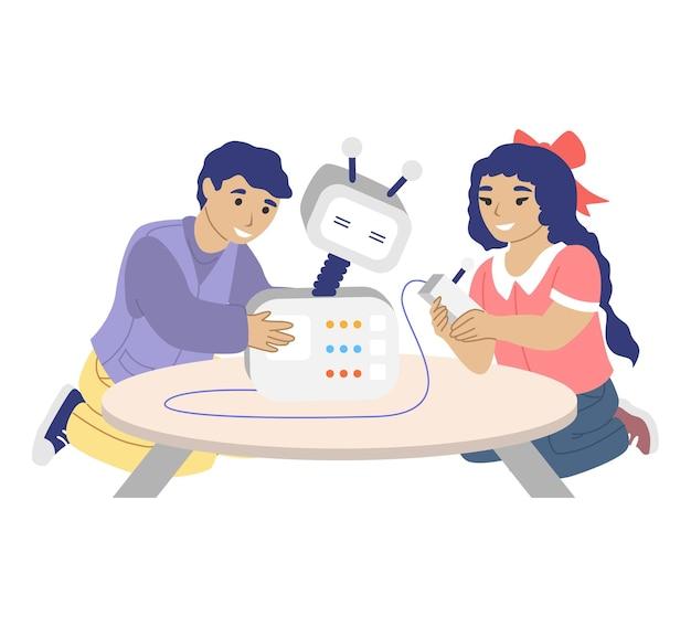 Niños felices jugando con robot de programación de juguetes robot inteligente plano