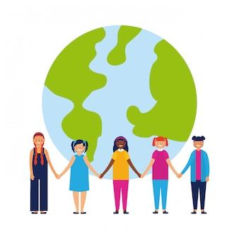 Niños felices junto con planeta, estilo plano