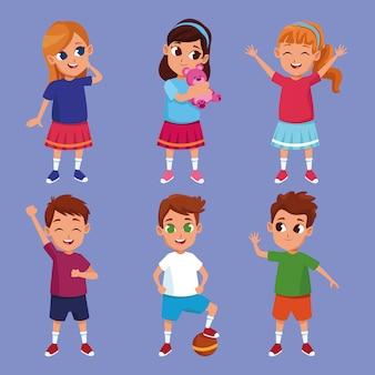 Niños felices lindos sonrientes dibujos animados